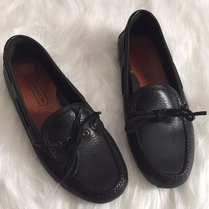 Coach Black pebbled leather Driving Moccasins